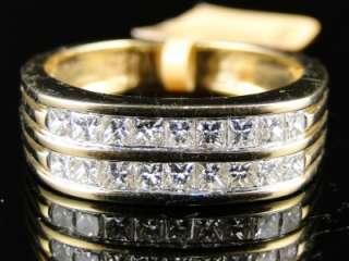 MENS YELLOW GOLD 2 ROW REAL WEDDING BAND PRINCESS CUT DIAMOND 7 MM