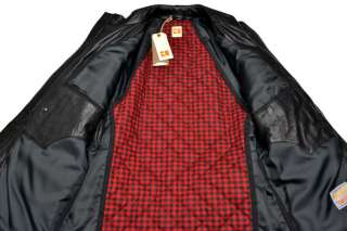 HUGO BOSS Mens Black Military Style Leather Jacket Coat Veste 44R 54