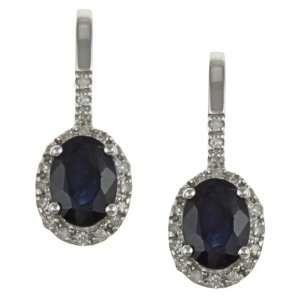 10k White Gold Genuine Blue Sapphire and Diamond Earrings