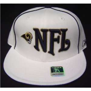 Size 7 3/8 White NFL St. Louis Rams Fitted Flat bill Cap