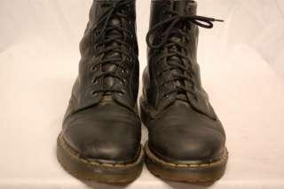 VINTAGE DOC DR DOCTOR MARTENS 8 EYELET BLACK LEATHER COMBAT BOOTS UK 9