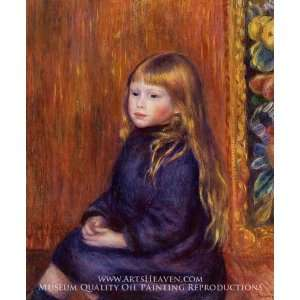 Seated Child in a Blue Dress Home & Kitchen