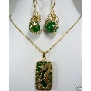 Real Dragon Jade LOVE GIFT Earrings Pendant With Necklace