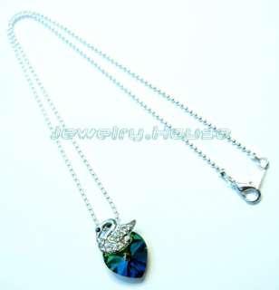 Swarovski Crystal Swan 6228 Heart VM GREEN Necklace