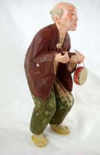 Signed Hand Carved Painted Elderly Man Figure Statue With Drum