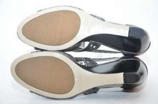 NEW ENZO ANGIOLINI Quinn Silver Leather Sandal Mid Wedge Heel Womens