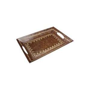 Painted Wrought Iron Decorative Tray with Embossing