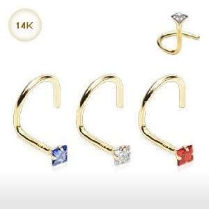 14KT Gold Nose Screw with 2mm Square Prong Set Red Cubic