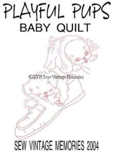 Vintage Designs Puppy Dog Baby Crib Quilt Embroidery