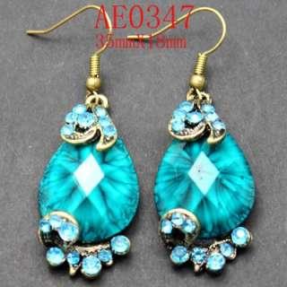 Charming Blue Rhinestone Crystal Gems Earring AE0347