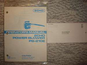 Echo PB 210E Power Blower Operators Manual