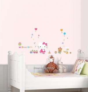 HELLO KITTY & TOYS KIDS ROOM Adhesive Removable Wall Decor Accents