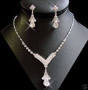 NEW RHINESTONE CRYSTAL DROP PROM BRIDAL JEWELRY