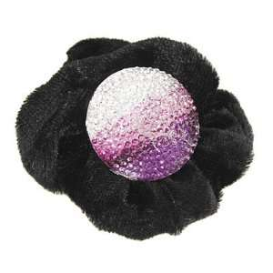 Velvet Purple White Rhinestone Elastic Hair Band for Lady Beauty