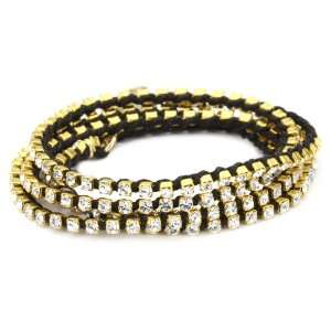 Ettika Gold Colored 4x Wrap Rhinestone Crystal Black Tennis Bracelet