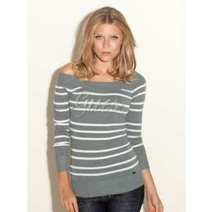 NEW GUESS ELENORA OFF THE SHOULDER SWEATER CRYSTAL LOGO TOP XS, S, M