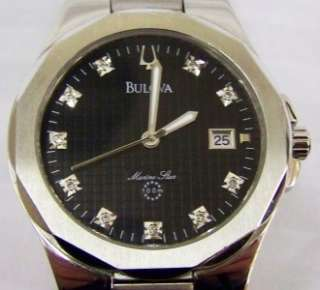 BULOVA MARINE STAR 96D14 BLACK DIAL WATCH Excellent Condition