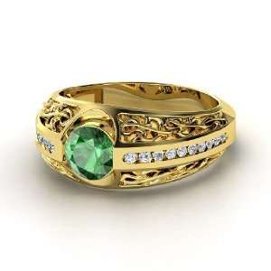 Vintage Romance Ring, Round Emerald 14K Yellow Gold Ring