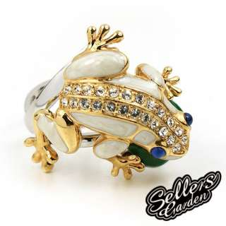 Cute W Gold GP Swaroski Crystal Enamel Frog Love Ring