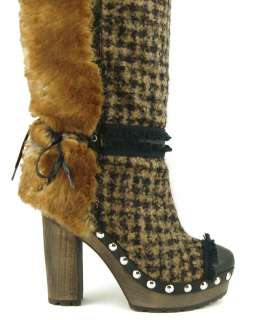 CHANEL Camel Womens Knee High Platform Boots EUR 39.5