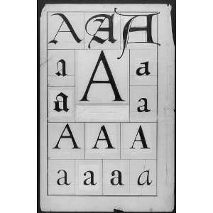 Frederic Goudys original drawing for a plate in The Alphabet,letter