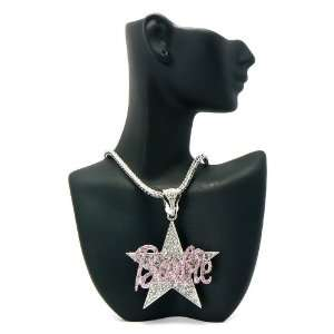 MINAJ BARBIE Star Pendant w/Franco Chain Silver/Pink MP602 Jewelry