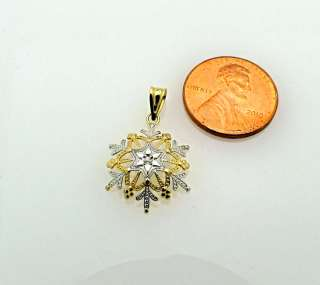 14k Two Tone Gold Diamond Snowflake Charm Pendant MA