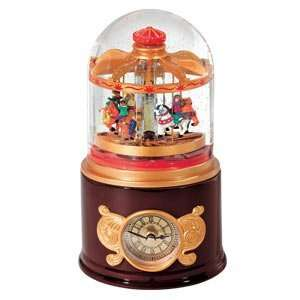 Mr. Christmas Fair Time Musical Carousel Clock Snow Globe