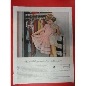 putting on dress) Orinigal Vintage Post Magazine Art.