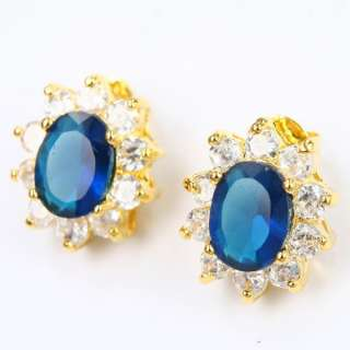 OVAL CUT BLUE SAPPHIRE *E012* COCKTAIL EARRINGS