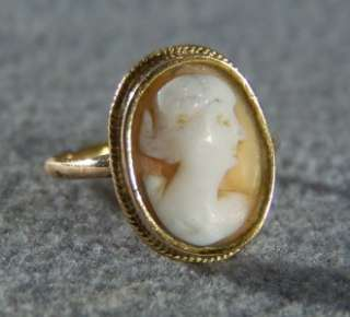 WOW ANTIQUE 14 K GOLD FANCY LARGE OVAL CAMEO RING 5