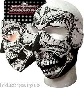 & White Skull Neoprene Protective Face Mask, Fits Most, NEW