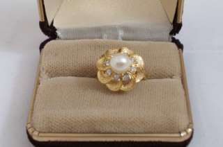 Faux Pearl & Rhinestone 14 KT Gold Plated Ring Size 6