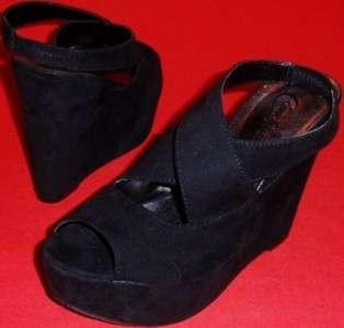 NEW Womens CANDIES PERRIS Black Strappy Sandals Wedge/Platform