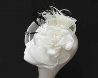 Wedding Bridal Fascinator Hat, Organza Rose Hair Accessory Headband