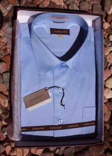 NEW GIORGIO 100% COTTON SOLID BLUE DRESS SHIRT SZ15 22