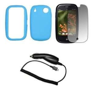 Premium Light Blue Soft Silicone Gel Skin Cover Case + Crystal Clear