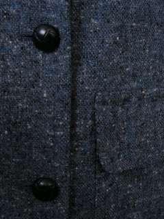 Bean Vtg Tweed Blazer Jacket Gray 10 Leather Btns