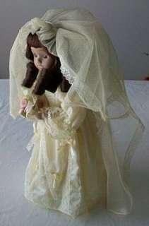Mann Hand Made Porcelain Bride Doll 16 w/stand