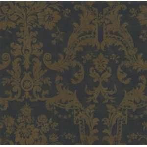 Wallpaper Ronald Redding Tan Floral Scroll Damask on Black Faux