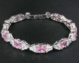 Fashion Jewelry Xmas Gift Pink Sapphire Clear Topaz Stone White Gold