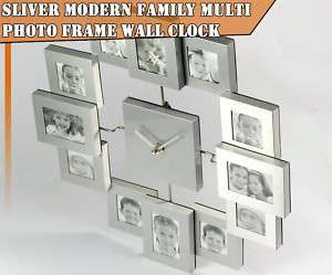Multi 12 Pic Modern Family Photo Frame Wall Clock O27