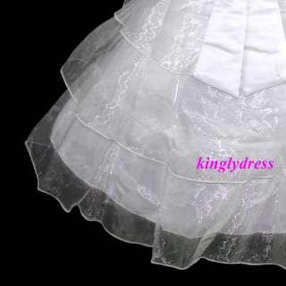 NEW Flower Girl Pageant Wedding Bridesmaid Princess Dress White Set SZ
