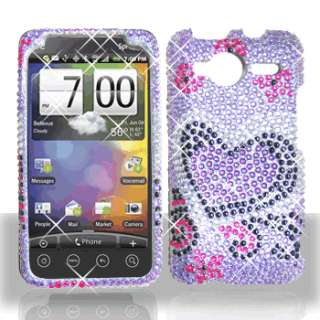 Purple Love Bling Case Phone Cover for HTC EVO Shift 4G