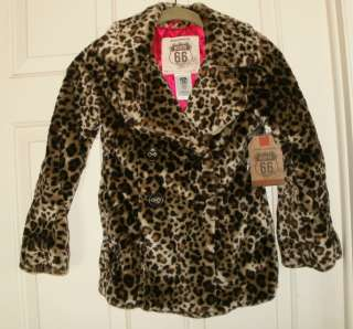 New Girls Faux Fur Leopard Winter Coat jacket Route 66 Double Breasted