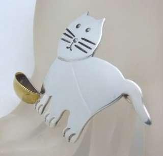 Brooch Pin Kitty Cat Kitten Golden Bowl Taxco Mexico OMA TM 212