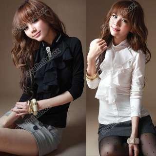 Women Chiffon Frilled High Collar Tops Blouse T shirts Sweet