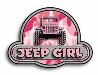 Pink Camo JEEP GIRL printed window sticker for your YJ, CJ, WRANGLER