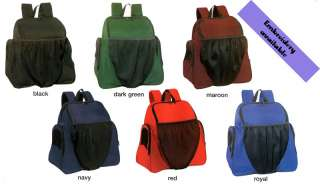 All purpose Backpack great for team sport. Colors Black, Dark green