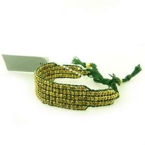 Gold Tone Stretch Bracelet with Green Details Jewelry